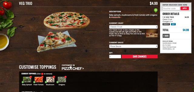 Dominos $4.99 vegan pizzas